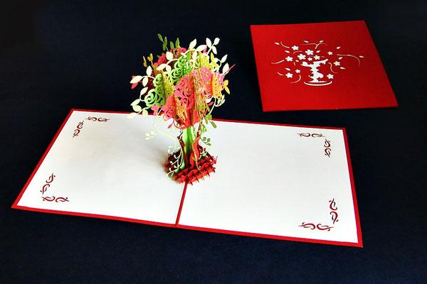 """Blumenvase""  Pop Up Karte  - LIN ArtDesign -"