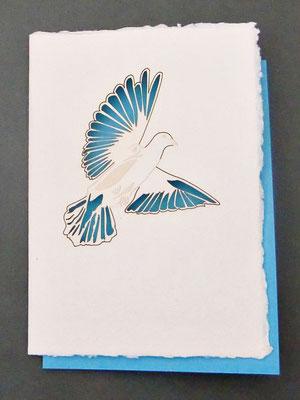 Karte aus Baumwollbütten mit gelasertem Motiv Taube - (KBaW01) - ausverkauft