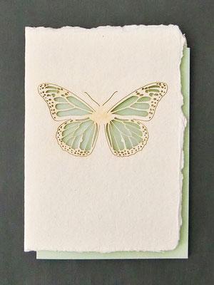 Karte aus Baumwollbütten mit gelasertem Motiv Schmetterling - KBaW08