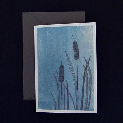 Offsetdruck von Tuschezeichnung auf handgeruckter Linolfläche - von Kathrin Förster-Kuberczyk