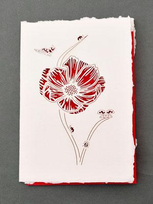 Karte aus Baumwollbütten mit gelasertem Motiv Marienkäfer auf Blüte - KBaW19