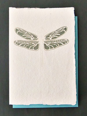 Karte aus Baumwollbütten mit gelasertem Motiv Libelle - (KBaW03) - ausverkauft