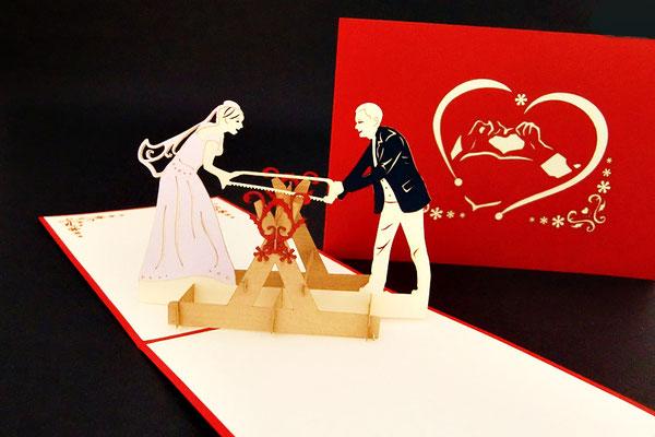 """""""Hochzeitssäge - Spiel""""  Pop Up Karte  - LIN ArtDesign -"""