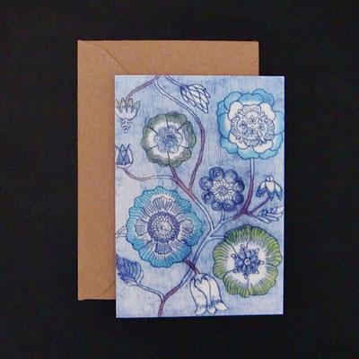 Karte nach einer Kaltnadelradierung von Natsuyo Koizumi - Floral blau - KNak04