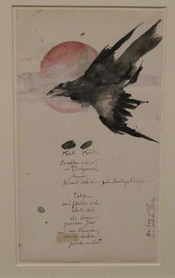 """Horst Janssen, """"Der Kuckkuck vor dem Mond - nach Hokusai"""", Aquarell 1976, Sonderausstellung """"Lebensklekse-Todeszeichen"""", Sammlung Scharf-Gerstenberg, Berlin"""