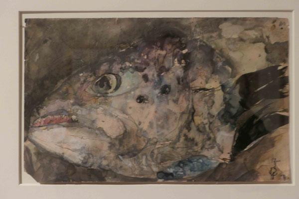 """Horst Janssen, """"Nature Morte Fischkopf"""", Pastell 1983, Sonderausstellung """"Lebensklekse-Todeszeichen"""", Sammlung Scharf-Gerstenberg, Berlin"""