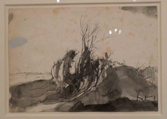 """Horst Janssen, """"Verdorter Strauch am Elbufer"""", Federzeichnung 1972, Sonderausstellung """"Lebensklekse-Todeszeichen"""", Sammlung Scharf-Gerstenberg, Berlin"""