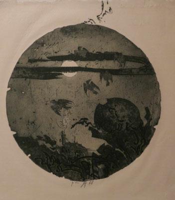 """Horst Janssen, """"Vollmond"""", Radierung 1988, Sonderausstellung """"Lebensklekse-Todeszeichen"""", Sammlung Scharf-Gerstenberg, Berlin"""