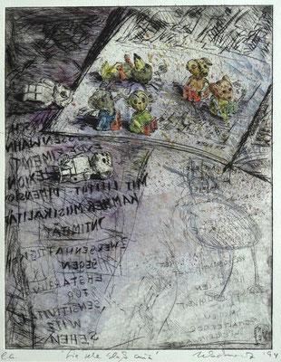 """""""Sie sehen blass aus"""" - Kaltnadel-Radierung - aquarelliert; 32 x 24,5 cm"""