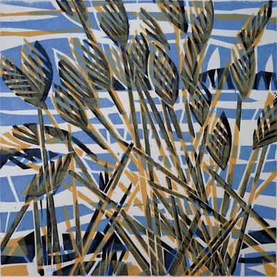 Wintersee, Farbholzschnitt, 25 x 25 cm