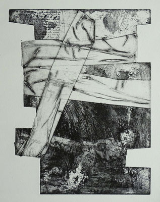 Radierung, Materialdruck, Prägedruck; ca 30 x 25 cm