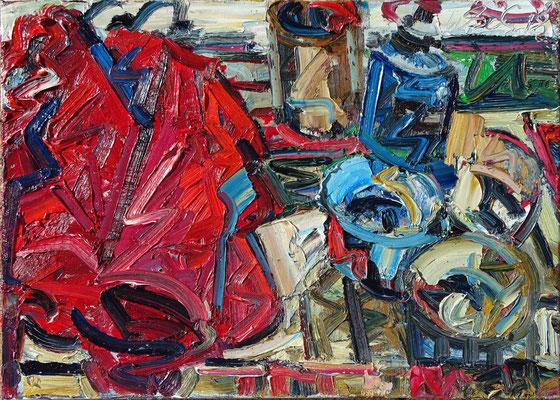 Das Rote Tuch, Öl/Lw 50 x 70 cm, 2018