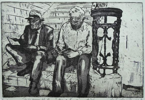 """Johannes K., Benno R. am AJG"", Radierung, Aquatinta, ca 20 x 24,5 cm"