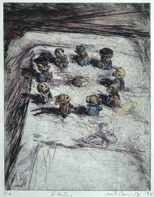 """Sitzung"" - Kaltnadel-Radierung - aquarelliert; 32 x 24,5 cm"
