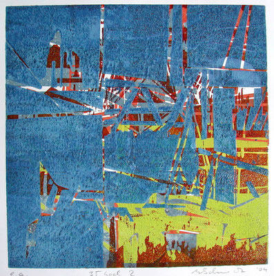 Farb-Holzschnitt, verschiedenartig kombiniert (verlorene Platte) 35 x 35 cm