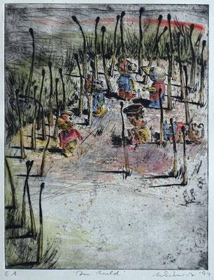 """Im Wald"" - Kaltnadel-Radierung - aquarelliert; 32 x 24,5 cm"