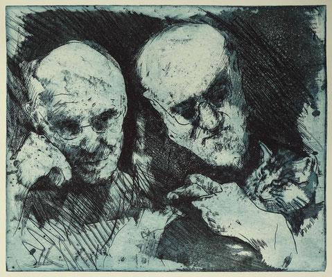 """A. Kiefer u.H. Matisse"", Radierung, Aquatinta, ca 24,5 x 29 cm"