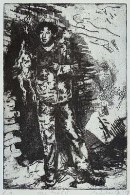 """Der Maler (CS)"" Radierung, Aquatinta, ca 24,5 x 19,5 cm"