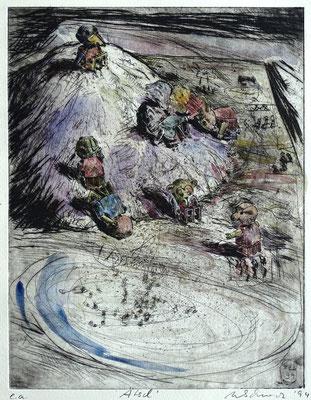 """Ätsch"" - Kaltnadel-Radierung - aquarelliert; 32 x 24,5 cm"