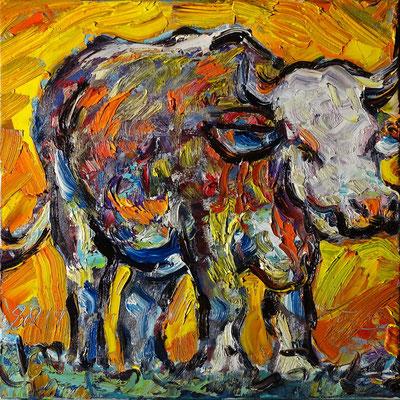 """""""Bunte Kuh"""" - hommage à Dubuffet , Öl/Lw 60 x 60 cm, 2019"""