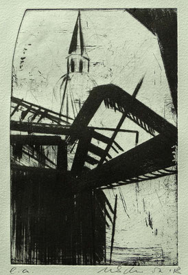 """""""mit Dom"""", Radierung, Kaltnadel, ca 24,5 x 16 cm"""