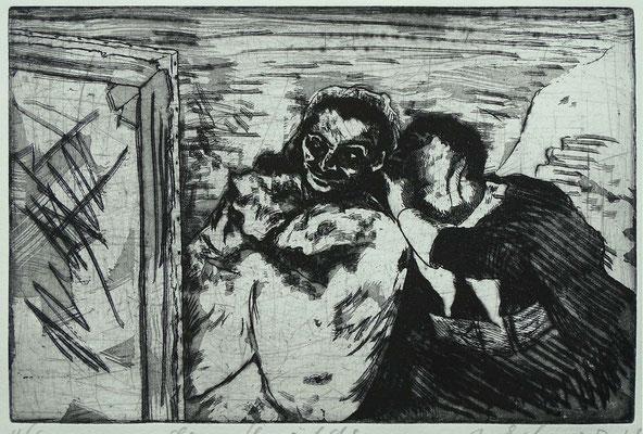 """das Gemälde"", (nach Daumier), Radierung, Aquatinta, ca 19,5 x 29,5 cm"
