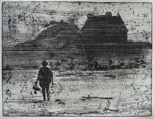 """Bretonischer Nebel"", Radierung, Kaltnadel, ca 15 x 19 cm"