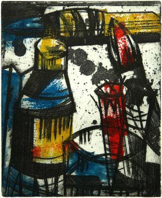 """""""Glas"""" - Radierung kombiniert mit farbigem Hochdruck; 24,5 x 20 cm"""