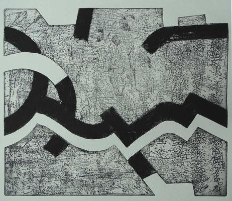 """""""Riss 2"""", Radierung,  ca 30 x 35 cm"""