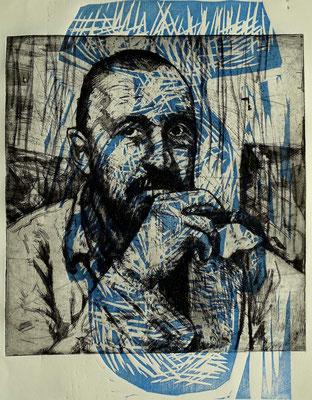 Porträt G. Baselitz, Radierung, Aquatinta und Holzschnitt, ca 32 x 23 cm