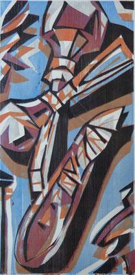 Schnittstelle, Farbholzschnitt, 60 x 30 cm
