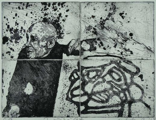 """""""Der Maler (Jean Dubuffet)"""" Radierung (4Platten), Aquatinta, ca 24,5 x 32,5 cm"""