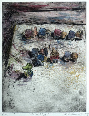 """Bücklinge"" - Kaltnadel-Radierung - aquarelliert; 32 x 24,5 cm"