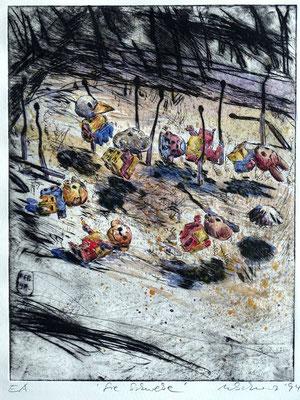 """""""Sie schweben"""" - Kaltnadel-Radierung - aquarelliert; 32 x 24,5 cm"""