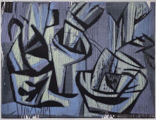 Tasse und Zeugs, Farbholzschnitt, 30 x 40 cm