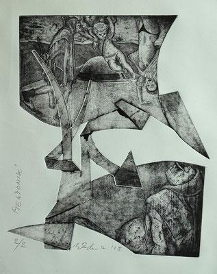 """Tektonik""  - Radierung, Materialdruck, Prägedruck; ca 25 x 30 cm"