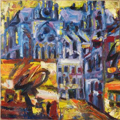 Blaue Kathedrale, Metz, Öl/Lw  100 x 100cm