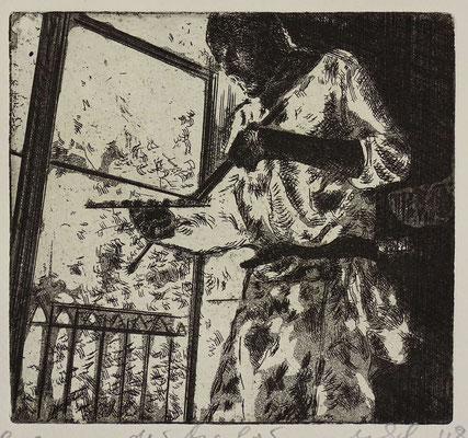 """""""Der Maler (LF)"""" Radierung, Aquatinta, ca 14,5 x 15,5 cm"""