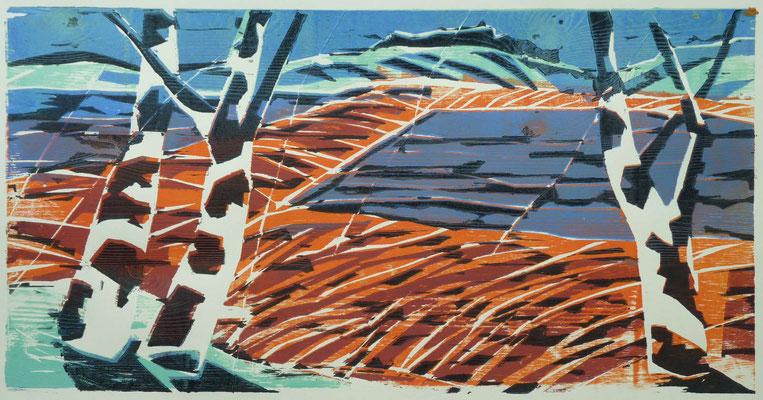 Drei Birken, Farbholzschnitt, 30 x 59 cm