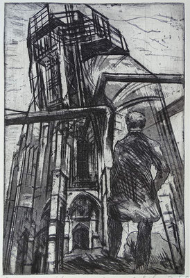 """hommage"", Radierung, Aquatinta, ca 29,5 x 19,5 cm"