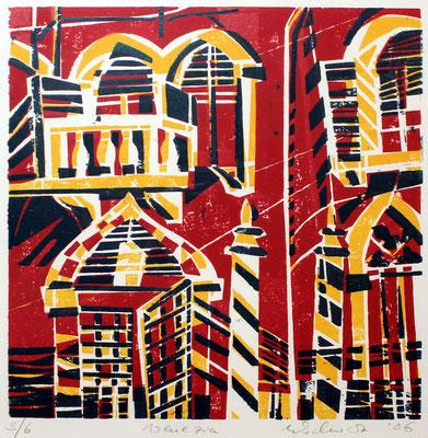 Venedig rot, Farbholzschnitt, 35 x 35 cm