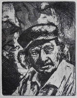 """Porträt HAP Grieshaber"" Radierung, Aquatinta, ca 13 x 10 cm"