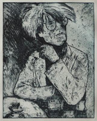 """""""Andy W."""", Radierung, Aquatinta, ca 24,5 x 20,5 cm"""