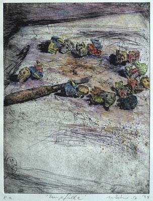 """Umgefallen"" - Kaltnadel-Radierung - aquarelliert; 32 x 24,5 cm"
