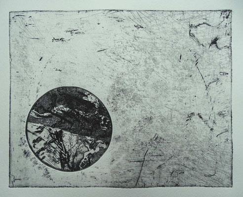"""""""Variante zum Kreis"""", Radierung,  ca 20 x 25 cm"""