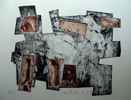 Radierung, Materialdruck, Prägedruck; ca 25 x 30 cm
