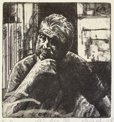 """Der Maler (FB)"" Radierung, Aquatinta, ca 12,5 x 12 cm"
