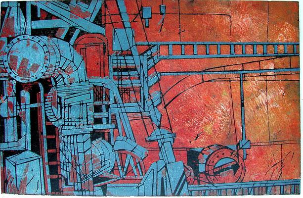 Rot - Wand, Farbholzschnitt