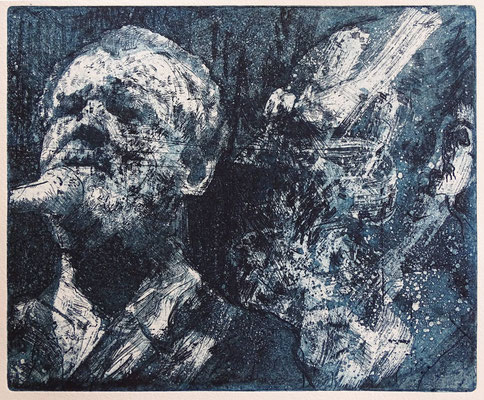 """Joe C., blue"", Radierung, Aquatinta, ca 20,5 x 24,5 cm"