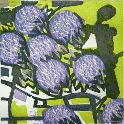 Augustblüten, Farbholzschnitt, 25 x 25 cm